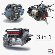 Коллекция поршневых авиационных двигателей 2 3d model