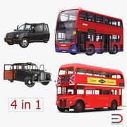 ロンドンのバスとタクシーの装備車2 3d model