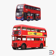 Collection de modèles 3D truqués de bus de Londres 3d model
