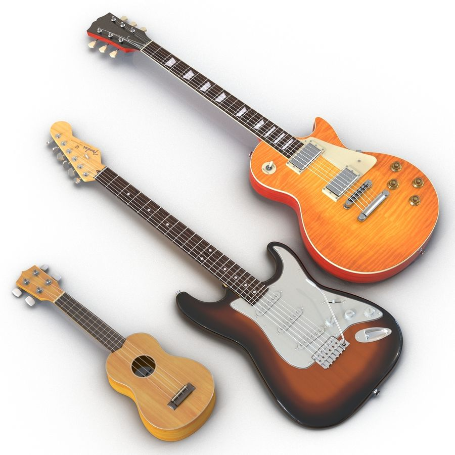 Guitars Collection royalty-free 3d model - Preview no. 2