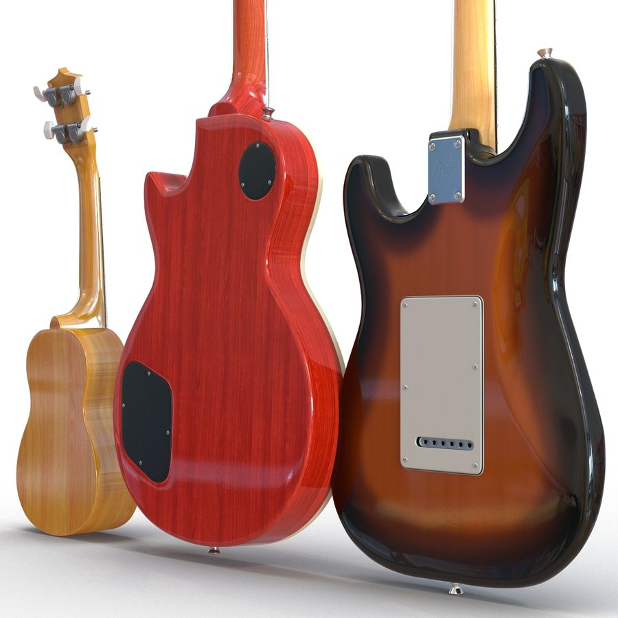 Guitars Collection royalty-free 3d model - Preview no. 8