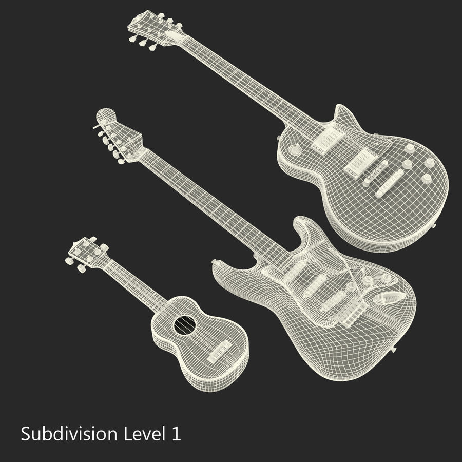 Guitars Collection royalty-free 3d model - Preview no. 62