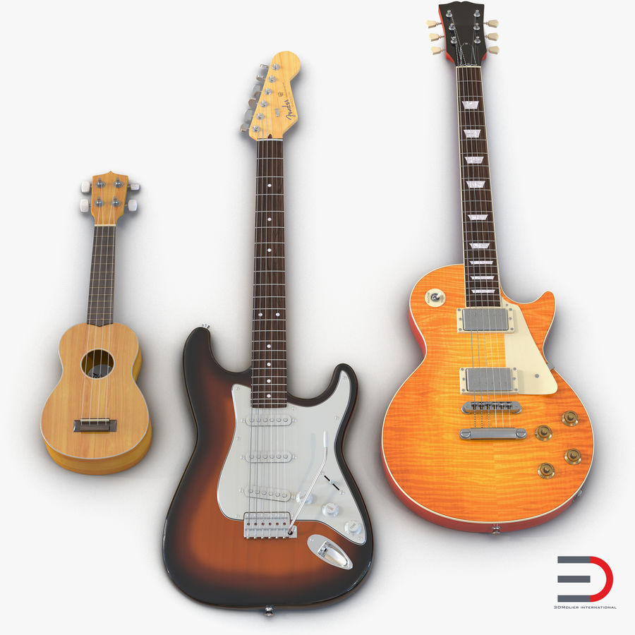 Guitars Collection royalty-free 3d model - Preview no. 1