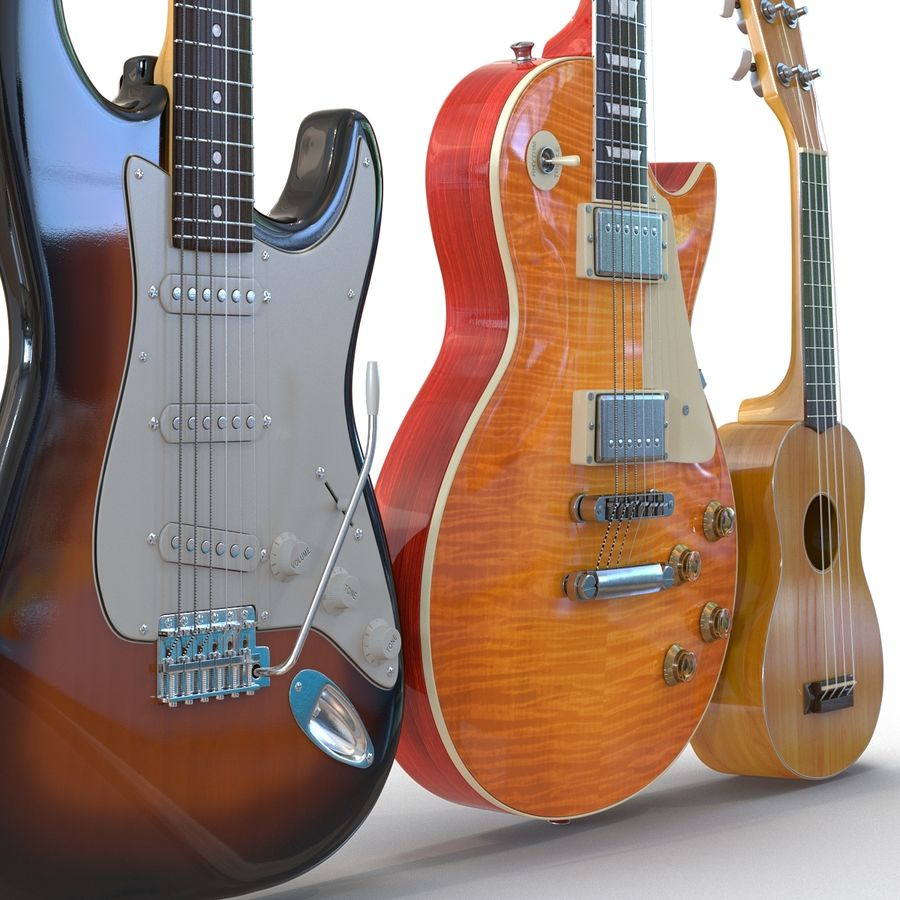 Guitars Collection royalty-free 3d model - Preview no. 7