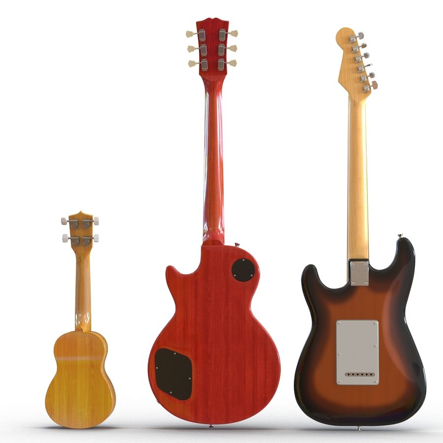 Guitars Collection royalty-free 3d model - Preview no. 5
