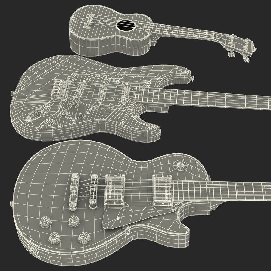 Guitars Collection royalty-free 3d model - Preview no. 74