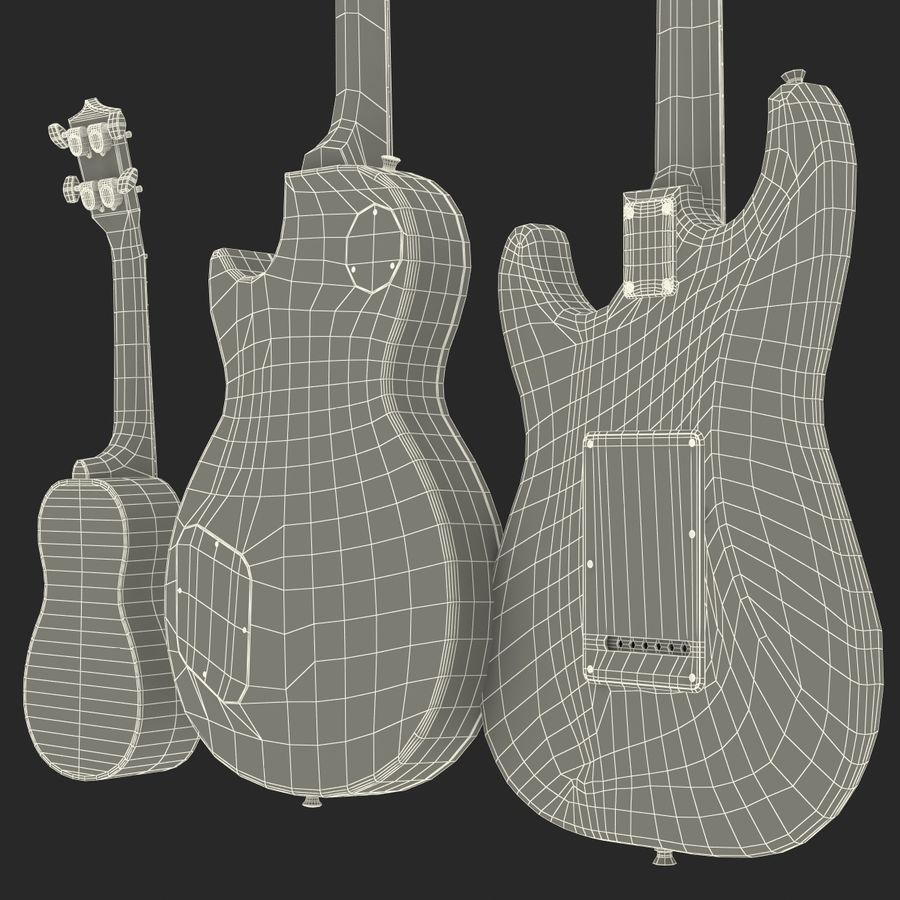 Guitars Collection royalty-free 3d model - Preview no. 77