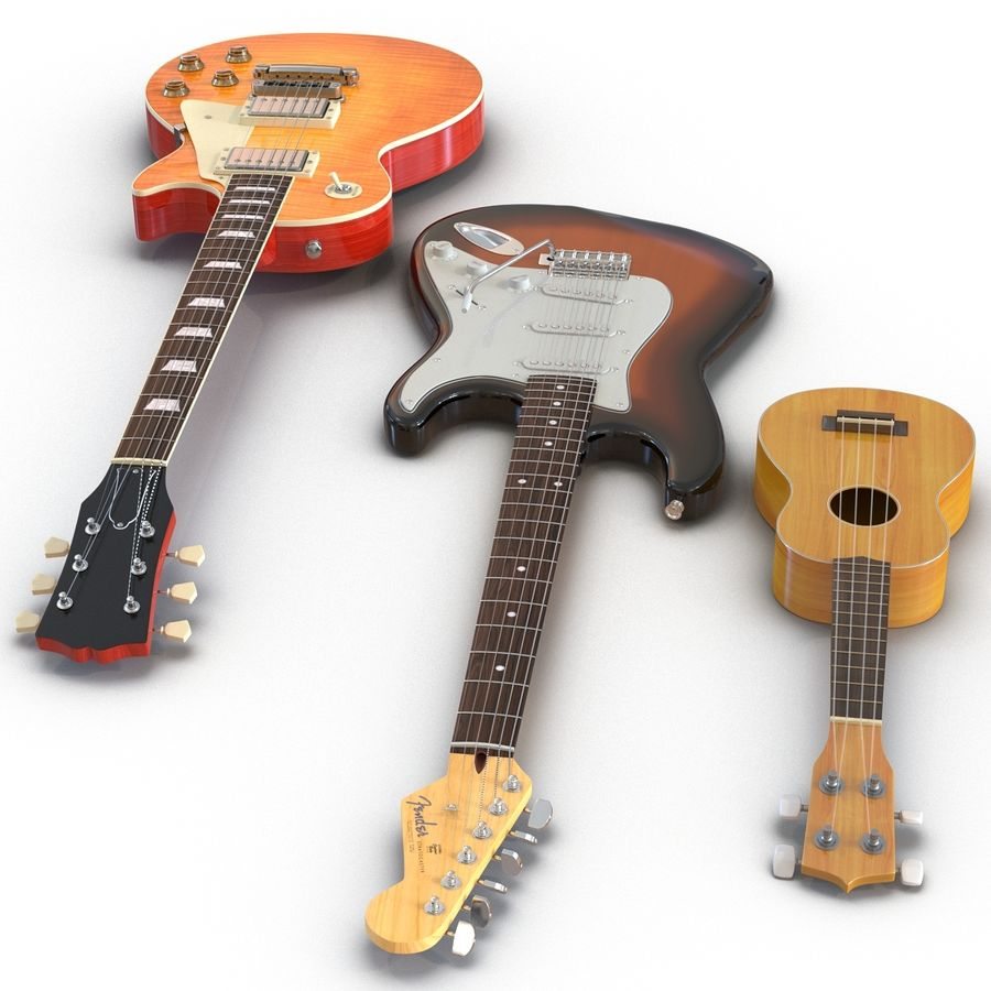 Guitars Collection royalty-free 3d model - Preview no. 3