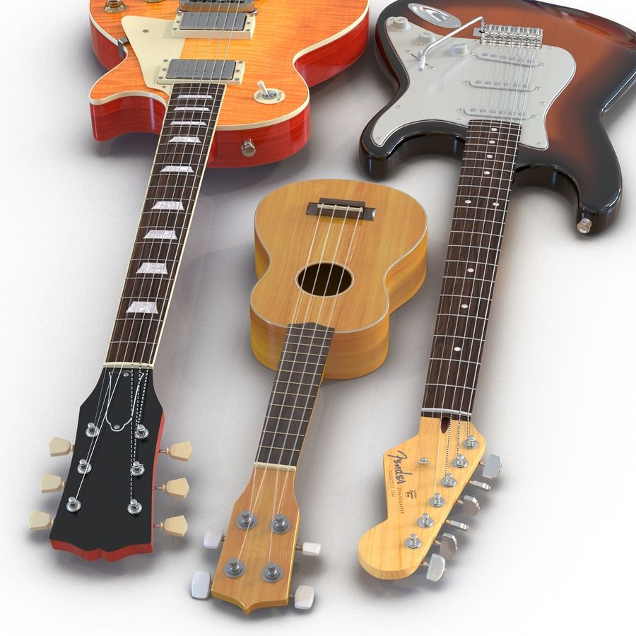 Guitars Collection royalty-free 3d model - Preview no. 10