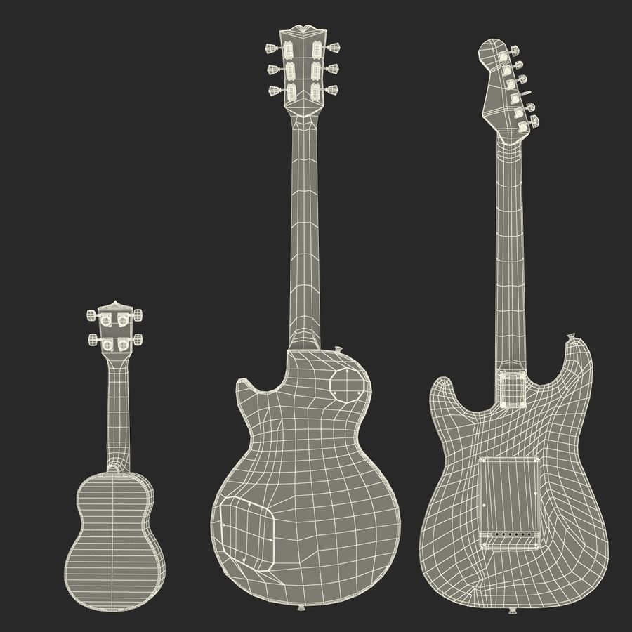 Guitars Collection royalty-free 3d model - Preview no. 76