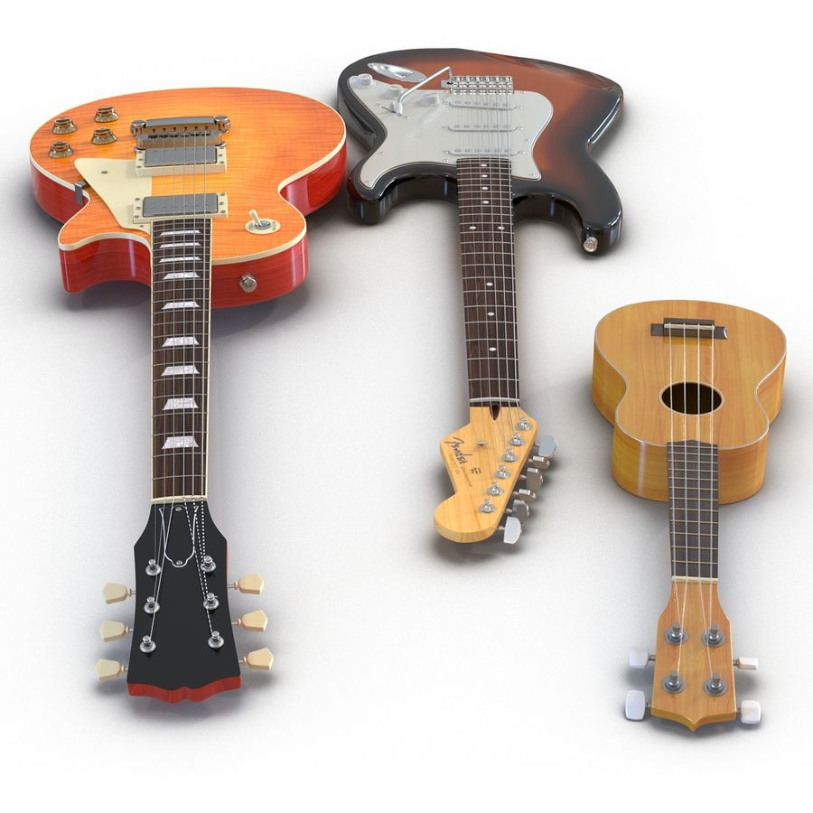 Guitars Collection royalty-free 3d model - Preview no. 4