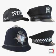 Polis hattar 3D-modeller Samling 2 3d model