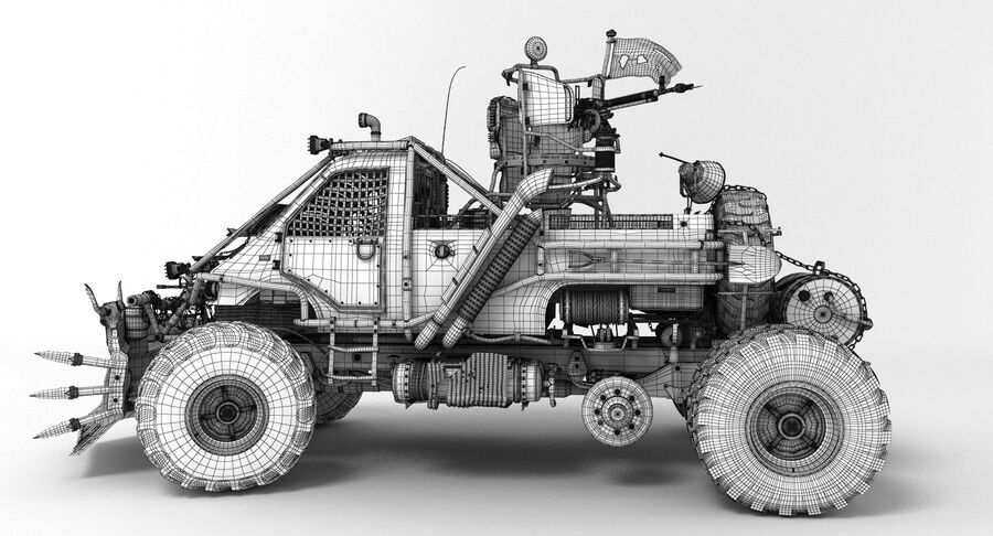 Apocalyptic Truck royalty-free 3d model - Preview no. 7
