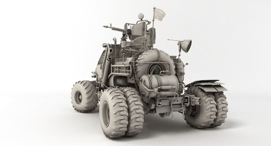 Apocalyptic Truck royalty-free 3d model - Preview no. 8