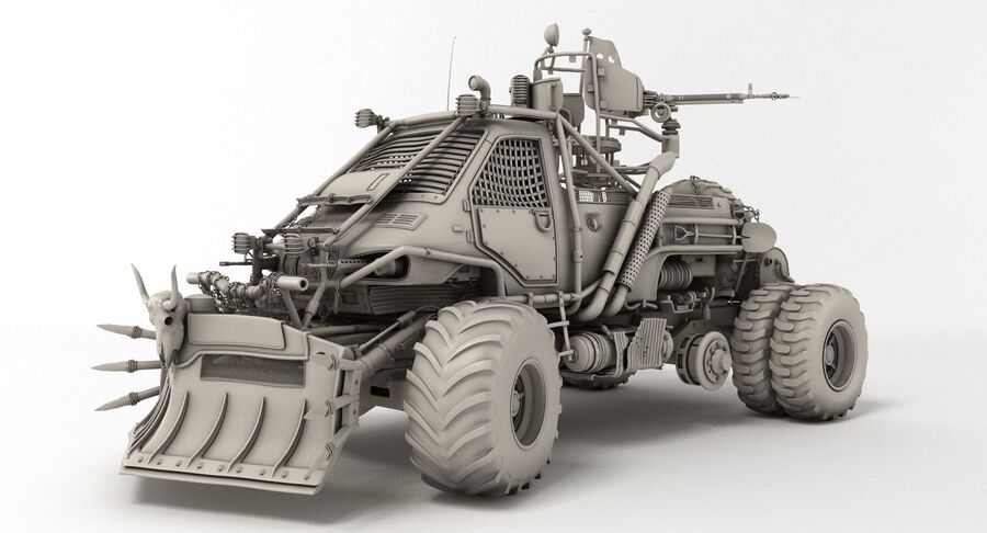 Apocalyptic Truck royalty-free 3d model - Preview no. 3