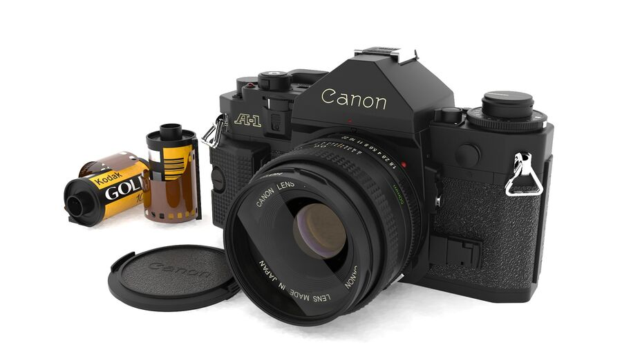 Fotocamera DSLR Canon A1 avanzata royalty-free 3d model - Preview no. 20
