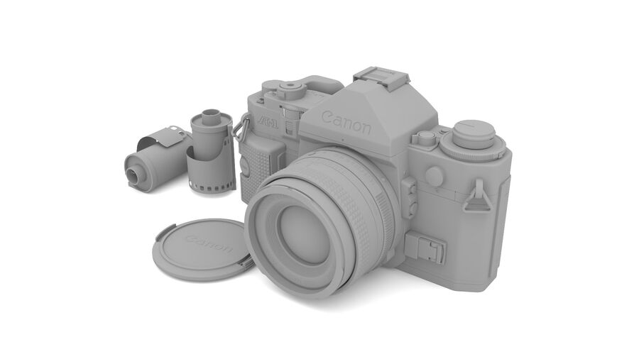 Fotocamera DSLR Canon A1 avanzata royalty-free 3d model - Preview no. 22