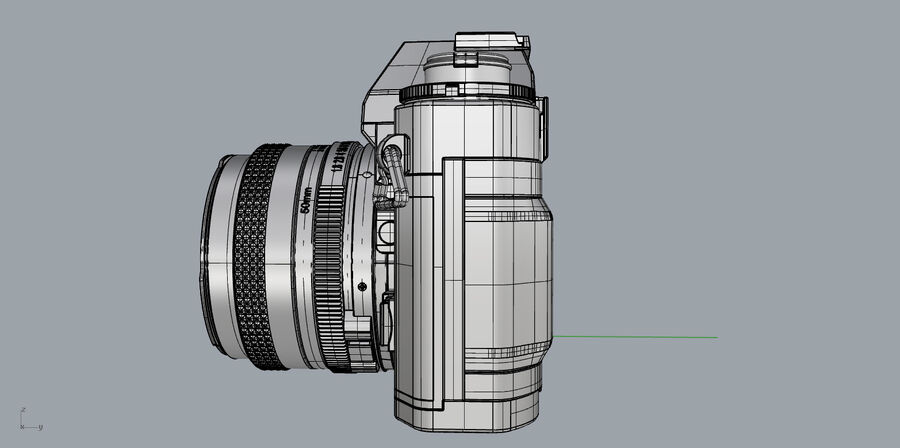 Fotocamera DSLR Canon A1 avanzata royalty-free 3d model - Preview no. 30