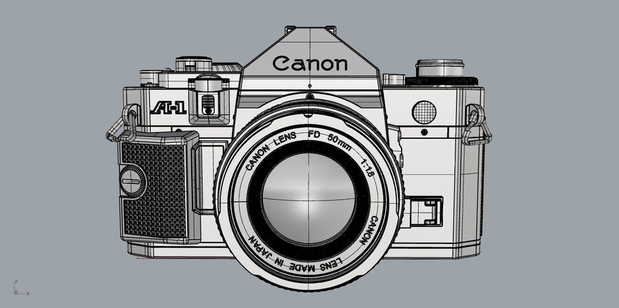 Fotocamera DSLR Canon A1 avanzata royalty-free 3d model - Preview no. 27