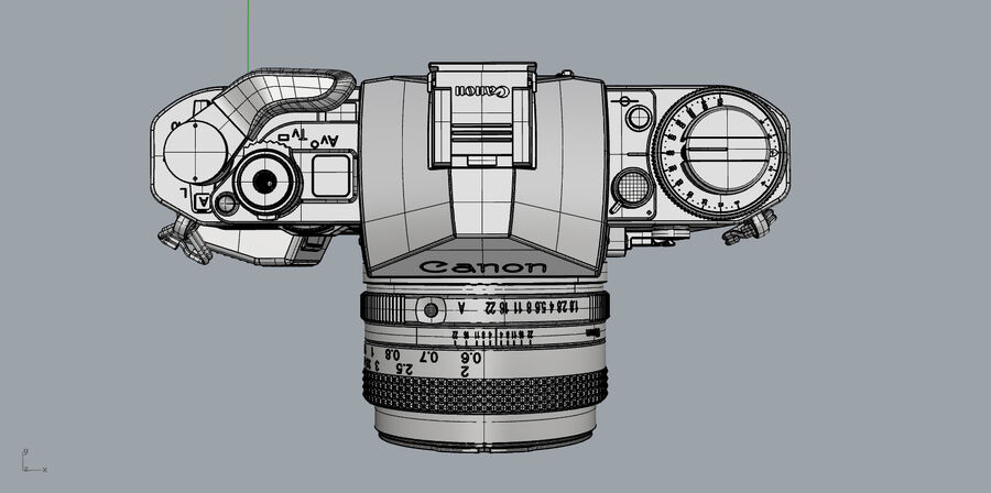Fotocamera DSLR Canon A1 avanzata royalty-free 3d model - Preview no. 31