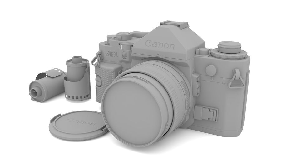 Fotocamera DSLR Canon A1 avanzata royalty-free 3d model - Preview no. 21