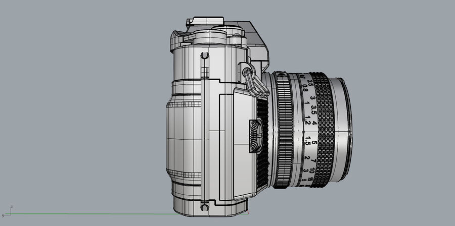 Fotocamera DSLR Canon A1 avanzata royalty-free 3d model - Preview no. 29