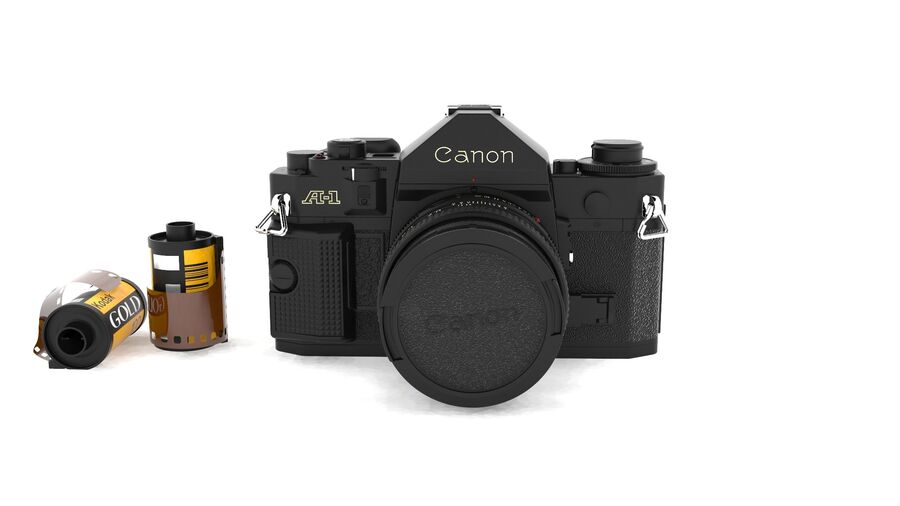 Fotocamera DSLR Canon A1 avanzata royalty-free 3d model - Preview no. 3