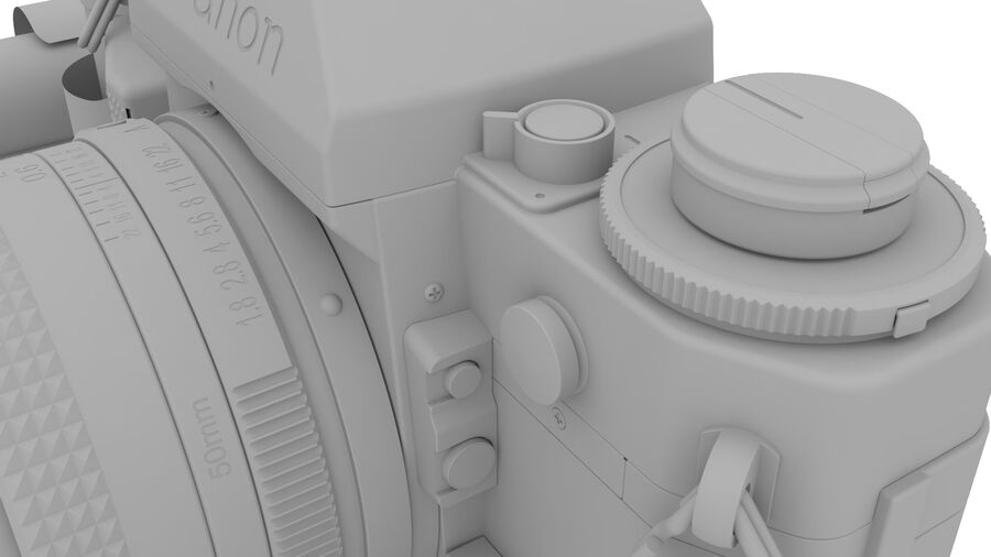 Fotocamera DSLR Canon A1 avanzata royalty-free 3d model - Preview no. 23