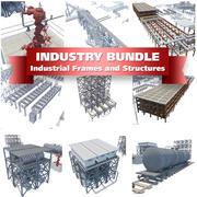Conjunto de quadros e estruturas da indústria 3d model