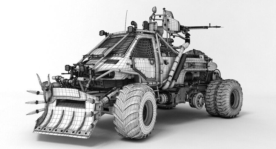 Apocalyptic Truck 2 royalty-free 3d model - Preview no. 4