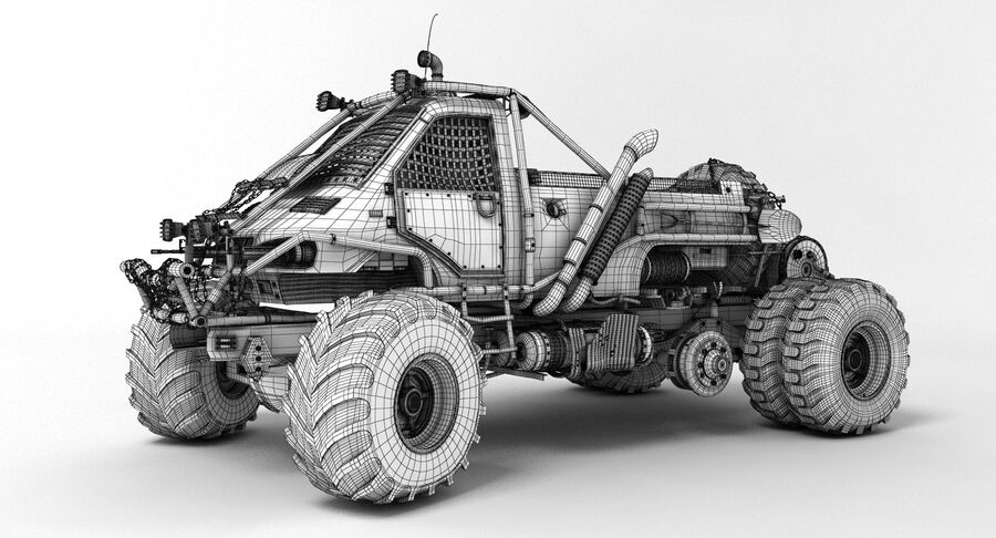 Apocalyptic Truck 3 royalty-free 3d model - Preview no. 4