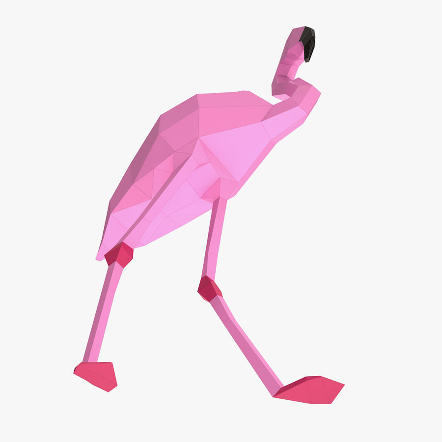 Flamingo Papercraft royalty-free 3d model - Preview no. 5