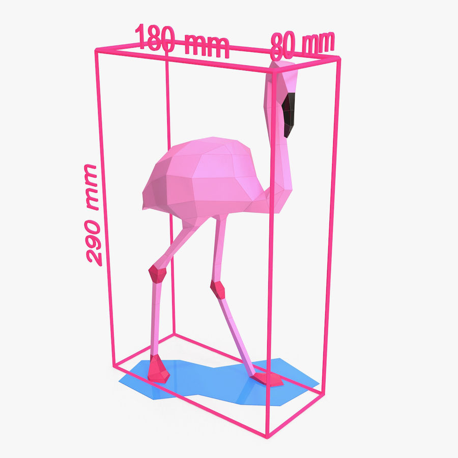 Flamingo Papercraft royalty-free 3d model - Preview no. 6