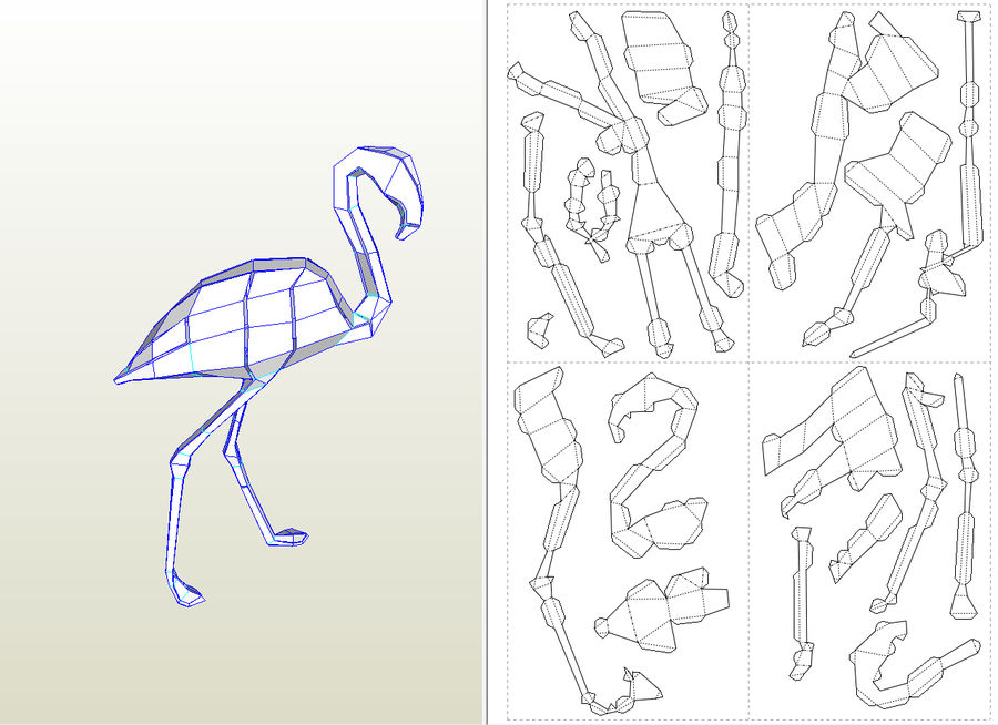 Flamingo Papercraft royalty-free 3d model - Preview no. 7