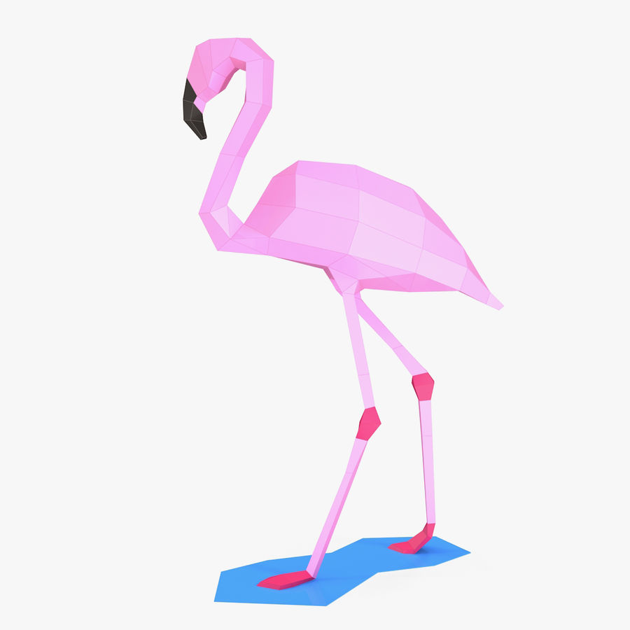 Flamingo Papercraft royalty-free 3d model - Preview no. 3