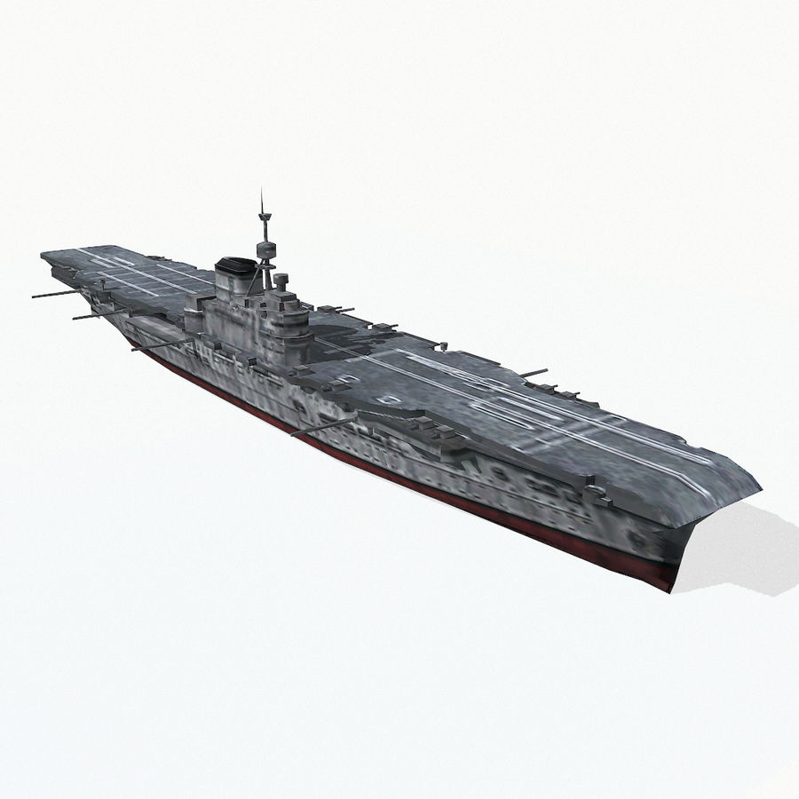 Illustrious-class aircraft carrier royalty-free 3d model - Preview no. 4