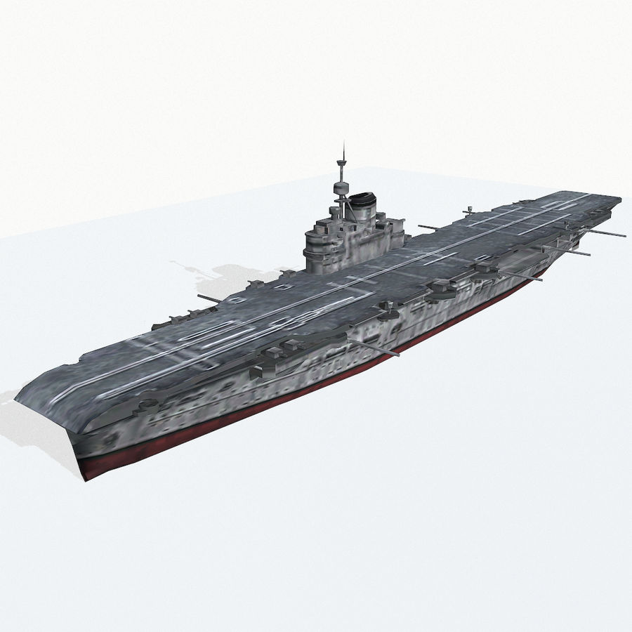 Illustrious-class aircraft carrier royalty-free 3d model - Preview no. 3
