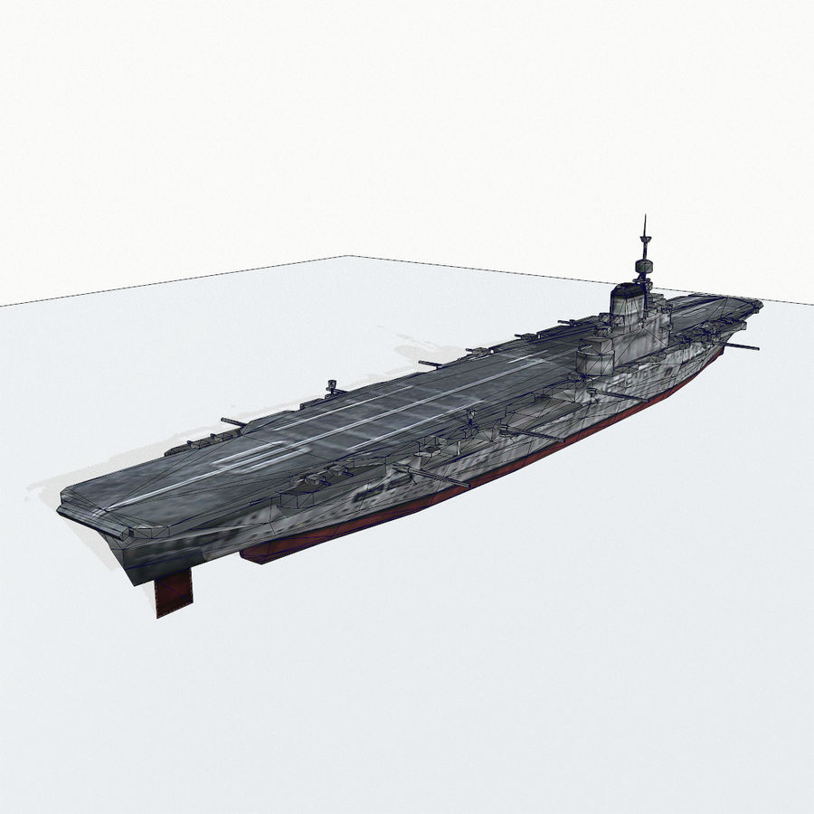 Illustrious-class aircraft carrier royalty-free 3d model - Preview no. 14