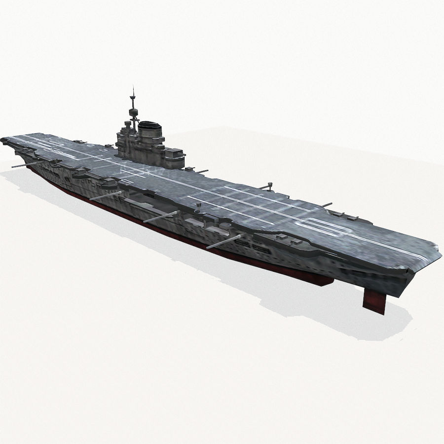 Illustrious-class aircraft carrier royalty-free 3d model - Preview no. 6