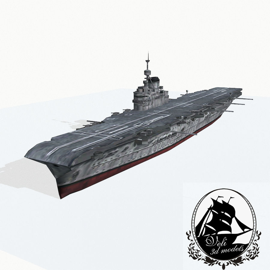 Illustrious-class aircraft carrier royalty-free 3d model - Preview no. 1