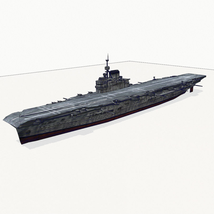 Illustrious-class aircraft carrier royalty-free 3d model - Preview no. 12