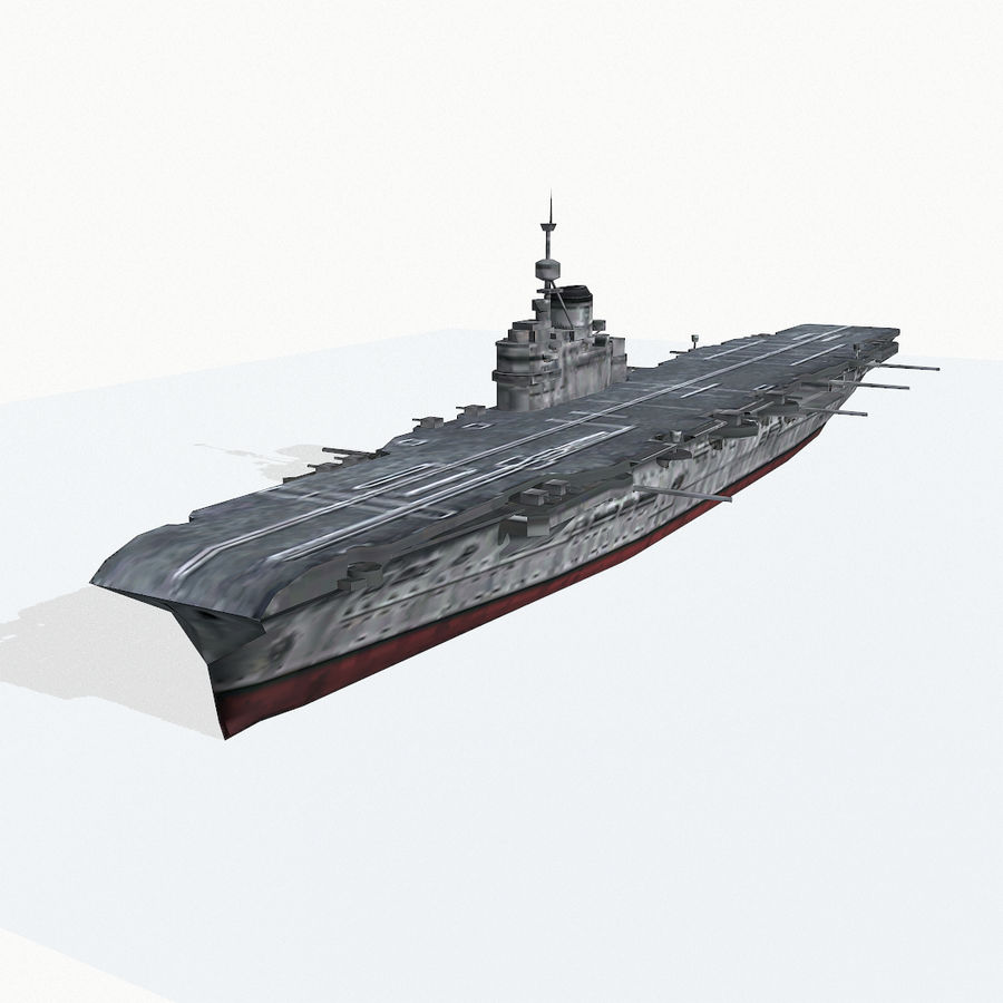 Illustrious-class aircraft carrier royalty-free 3d model - Preview no. 2