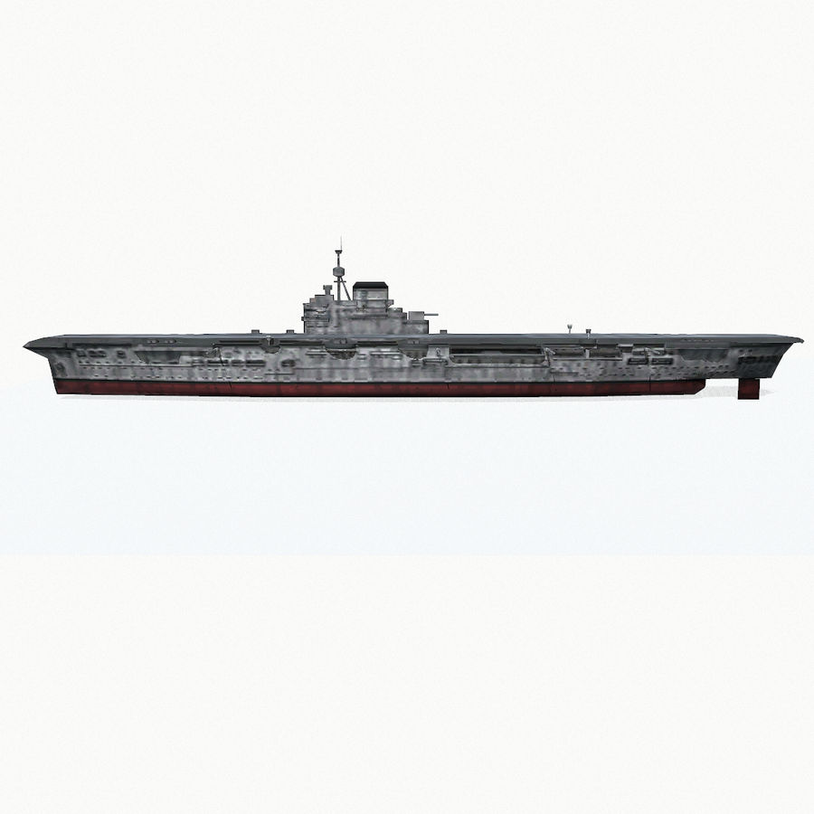Illustrious-class aircraft carrier royalty-free 3d model - Preview no. 9