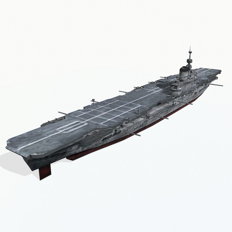 Illustrious-class aircraft carrier royalty-free 3d model - Preview no. 5