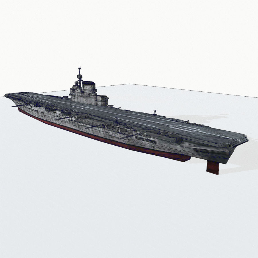 Illustrious-class aircraft carrier royalty-free 3d model - Preview no. 15