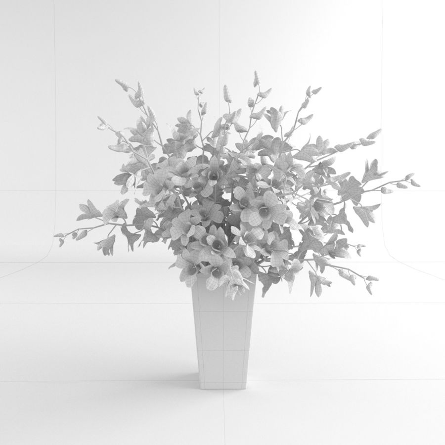 Orchid Flower White Dentrobium Glass Vase 01 3d Model 9