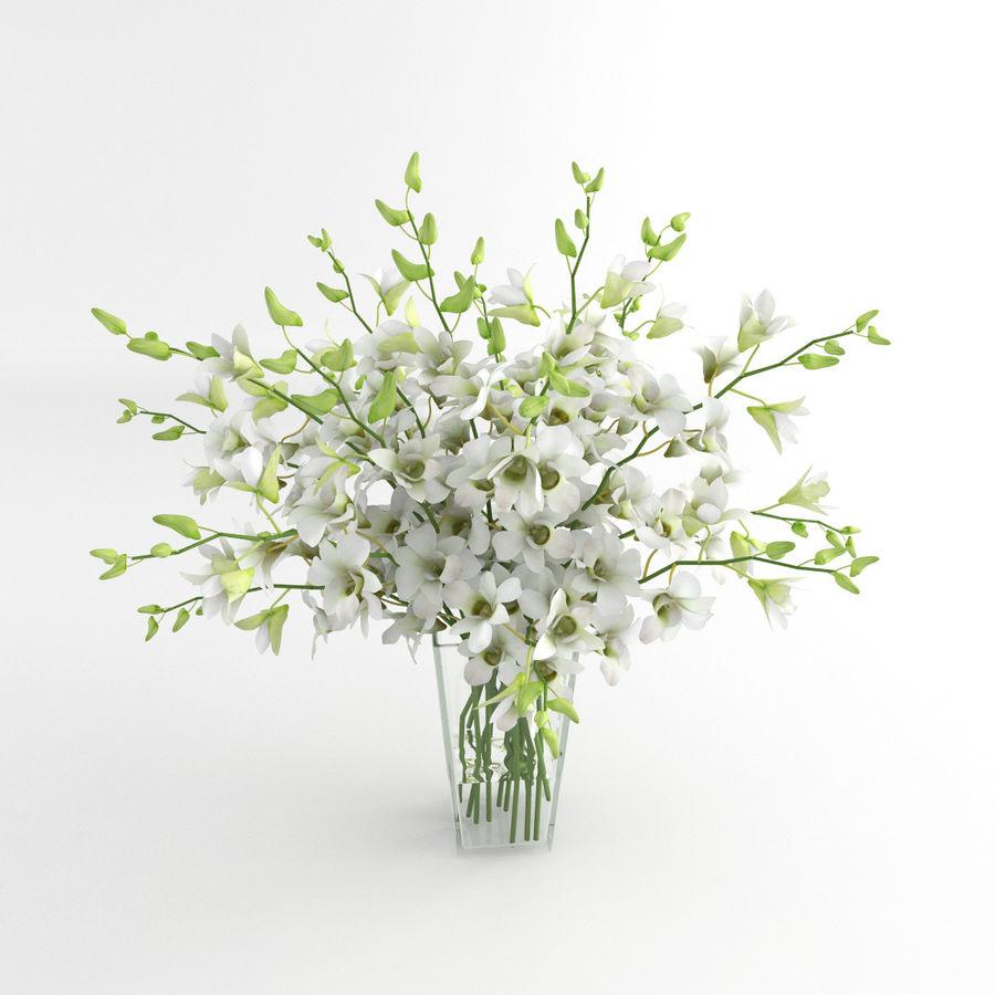 Orchid Flower White Dentrobium Glass Vase 01 3d Model 9