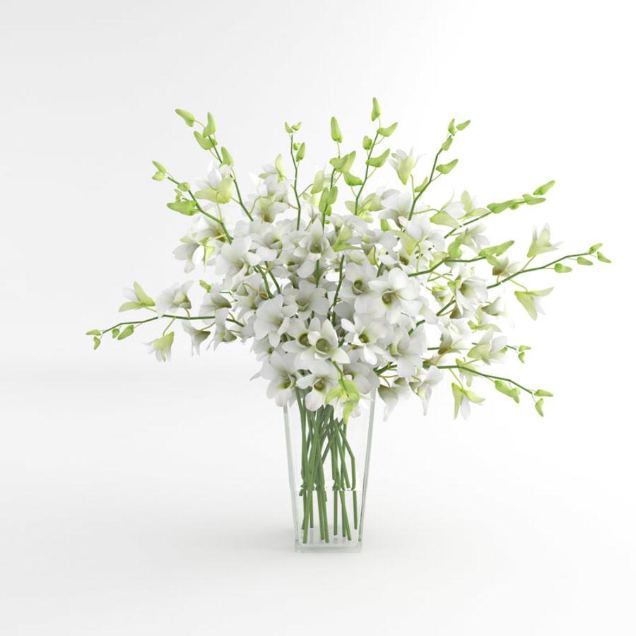 Orchid Flower White Dentrobium Glass Vase 01 3d Model 9 Obj Fbx