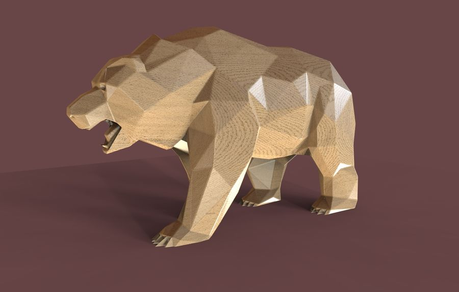 Oso ruso Low Poly royalty-free modelo 3d - Preview no. 2