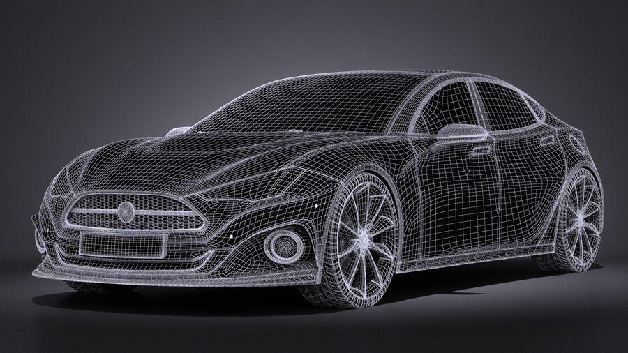 Generic Car Sport Sedan 2016 royalty-free 3d model - Preview no. 13